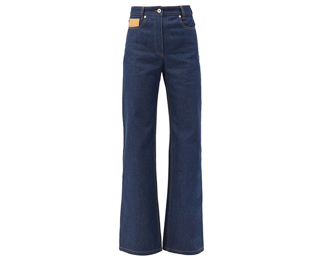 """<a href=""""https://www.matchesfashion.com/intl/products/Paco-Rabanne-Leather-patch-high-rise-flared-jeans-1395568"""" target=""""_blank"""">PACO RABANNE</a>, 34 130 руб."""