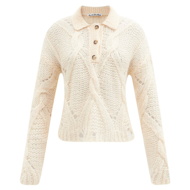 """<a href=""""https://www.matchesfashion.com/intl/products/Acne-Studios-Cabled-open-gauge-polo-sweater-1430648"""" target=""""_blank"""">ACNE STUDIOS</a>, 25 810 руб."""