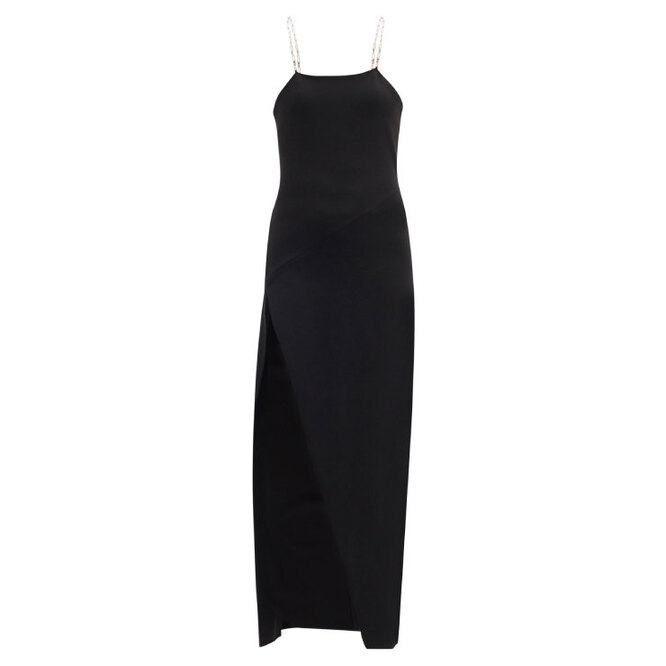"""ПЛАТЬЕ&nbsp;<a href=""""https://www.matchesfashion.com/intl/products/The-Attico-Crossover-chain-strap-crepe-dress-1393153"""" target=""""_blank"""">THE ATTICO, 57 685 руб.</a>"""