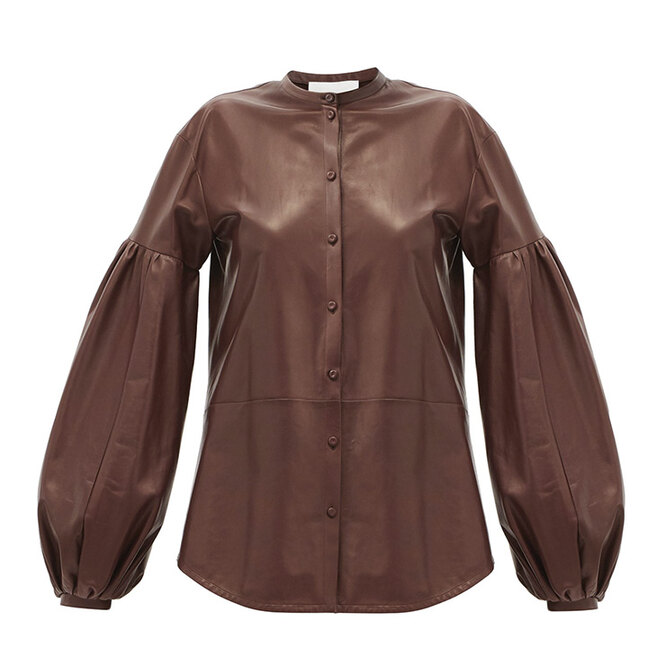 "РУБАШКА&nbsp;<a href=""https://www.matchesfashion.com/intl/products/Jil-Sander-Balloon-sleeve-leather-shirt-1380583"" target=""_blank"">JIL SANDER</a>, 246 840 руб"