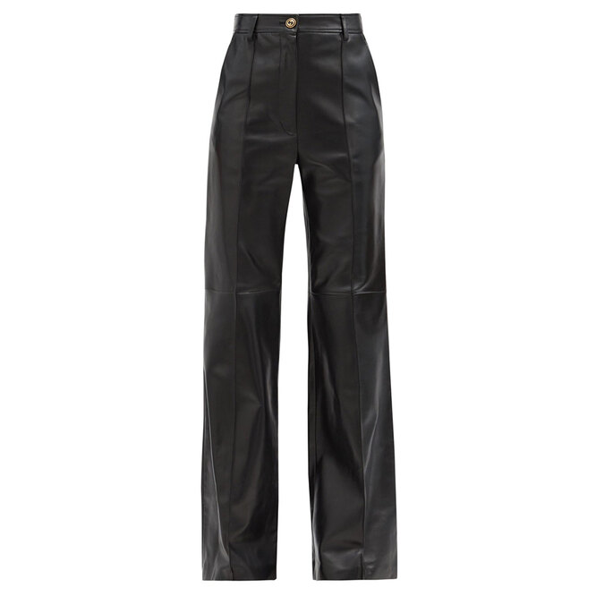 """<a href=""""https://www.matchesfashion.com/intl/products/Gucci-Flared-leather-trousers-1360706"""" target=""""_blank"""">GUCCI, 166 015 руб.</a>"""