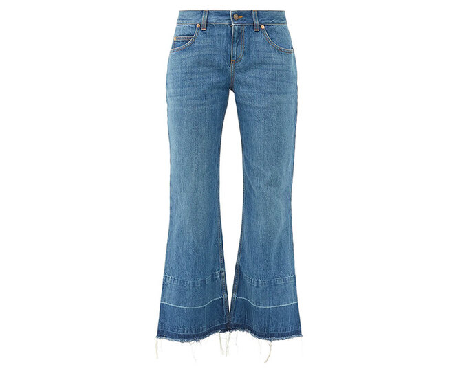 """<a href=""""https://www.matchesfashion.com/intl/products/Gucci-X-Disney-Donald-Duck-distressed-hem-flared-jeans-1396938"""" target=""""_blank"""">GUCCI</a>, 47 315 руб."""