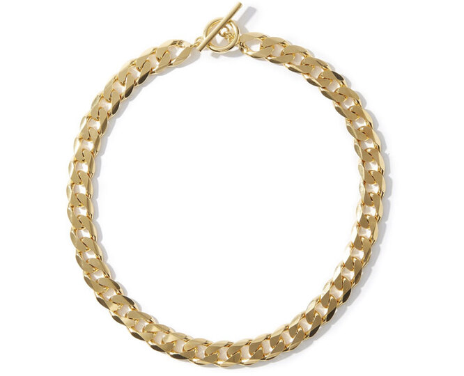 "ЦЕПЬ&nbsp;<a href=""https://www.matchesfashion.com/intl/products/All-Blues-Moto-curb-chain-gold-vermeil-necklace-1336473"" target=""_blank"">ALL BLUES</a>, 51 460 рублей"