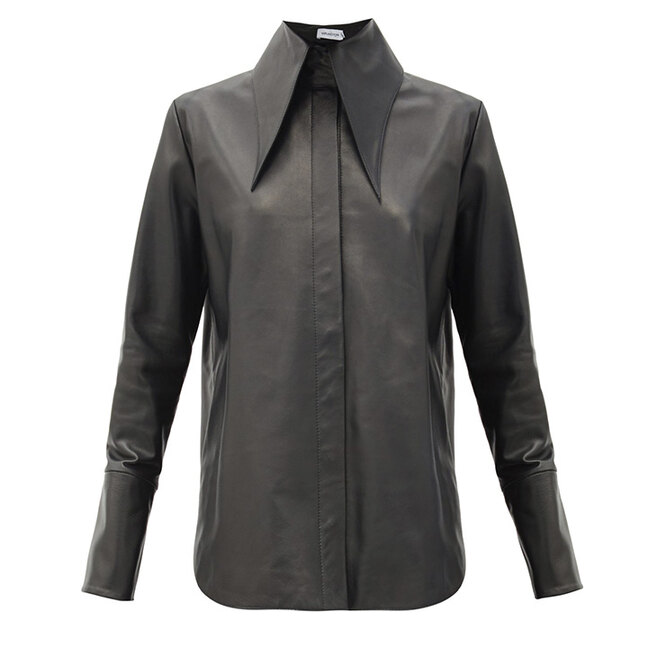 "РУБАШКА&nbsp;<a href=""https://www.matchesfashion.com/intl/products/16Arlington-Seymour-point-collar-leather-shirt-1394821"" target=""_blank"">16ARLINGTON</a>, 59&nbsp;955 руб"