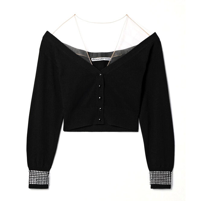 "КАРДИГАН&nbsp;<a href=""https://www.net-a-porter.com/en-ru/shop/product/alexander-wang/cropped-crystal-embellished-tulle-trimmed-wool-blend-cardigan/1296059"" target=""_blank"">ALEXANDER WANG</a>, 45 942 руб"